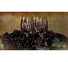Hand Painted Wine Glasses, Grapes & More 2nd Rendition Photographic Print