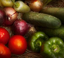 Food - Vegetables - Onions, Tomatoes, Peppers, and Cucumbers  by Mike  Savad