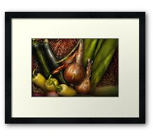 Food - Vegetables - Greens and Onions  Framed Print