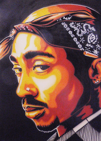 Tupac (stencilised) by Bilistik Art