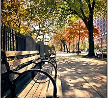 Park Bench on Morningside Drive by Forrest Harrison Gerke