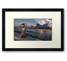Beautiful brunette posing in a water at sunrise in Miami beach, Florida  Framed Print