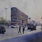 mayo hospital square.. nagpur.. watercolor on paper by biswaal