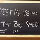 Meet Me Behind The Bike Shed - Love Card by Liam Liberty
