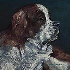 Pastel Painting Art Portrait - St. Bernard Dog by Sue Deutscher