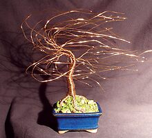 GOLD WIND SWEPT - Mini Wire Tree Sculpture by Sal Villano
