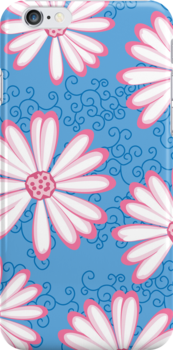 Baby Blue, Pink and White Daisy Pattern by rozine