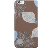 Trendy Blue and Brown Henna Flower Tatto With Polka Dots iPhone Case/Skin