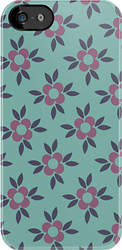 Retro Flower Wallpaper Design - Teal, Navy Blue and Mauve Pink by rozine