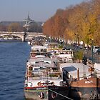 Barges on River Seine by GRoyer