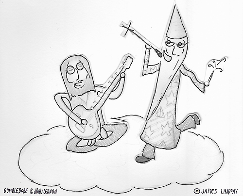 John Lennon & Dumbledore in the 'after-place'. by Vonderverger