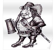 Beer Drinking Musketeer pen ink black and white drawing Poster