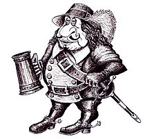 Beer Drinking Musketeer pen ink black and white drawing Photographic Print