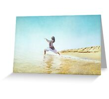 Woman in prayer position. Yoga in the beach,  Barcelona Greeting Card