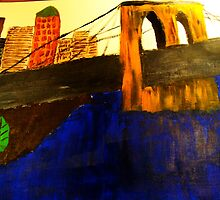 Modern Lower Manhattan Painting with Brooklyn Bridge by Christina Darcy