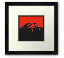 Saab 900, 1990 - Red on charcoal Framed Print