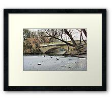Frozen Boating Lake  Framed Print