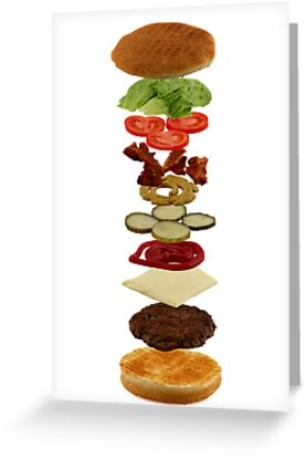 Isometric exploded view of hamburger ingredients by Gert Lavsen