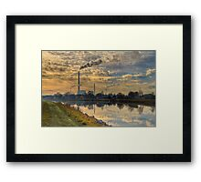 View to power plant across a channel Framed Print