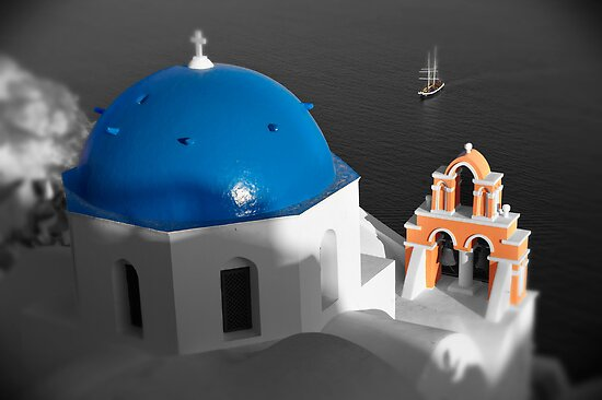 'Blue Domes' - Greek Orthodox Churches of the Greek Cyclades Islands - 8 by Paul Williams