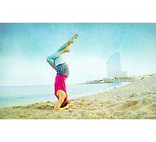Yoga in the beach, Barcelona Photographic Print