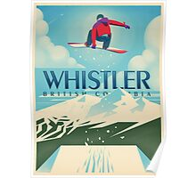"""Snowboard Booter"" Whistler, BC Travel Poster Poster"