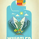 """Blue Bird"" Whistler, BC Travel Poster by James Tuer"