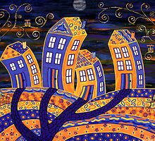 Midnight In Town - only the owls are watching! by Lisa Frances Judd ~ Original Australian Art