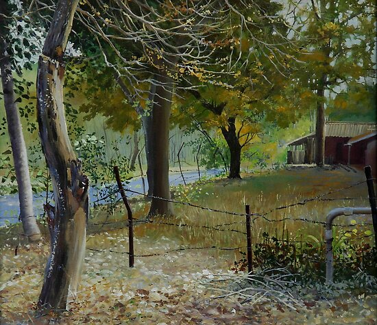 BACKYARD.. acrylic on canvas by biswaal