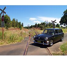 VW Squareback at Railway Crossing Photographic Print