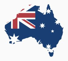 Australia Flag and Map by Nhan Ngo