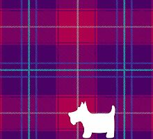 Pink and Purple Tartan Plaid with Scottie Dog by ArtformDesigns