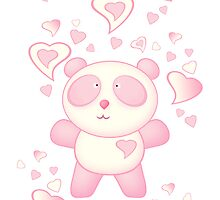 Pink Panda Bear Cartoon with Love Hearts by ArtformDesigns