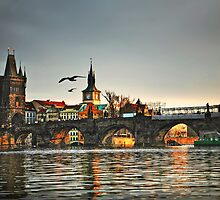 Sunset on Charles Bridge in Prague by ieatstars