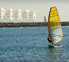 Sailboarding at Bathers Beach by Darren Speedie