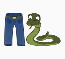 Funny Trouser Snake Cartoon Design by ArtformDesigns
