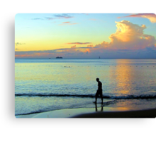 Swimming at sunset Canvas Print