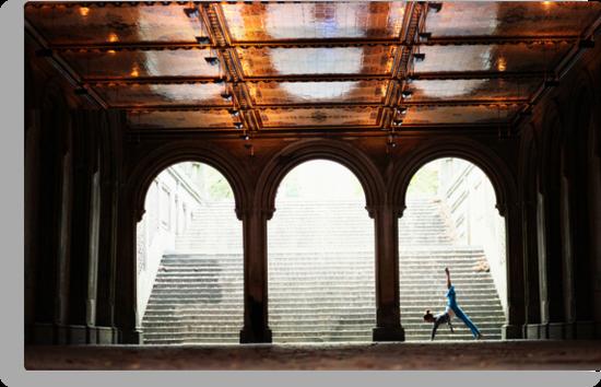 Yoga at Bethesda Terrace, Central Park, New York by Wari Om  Yoga Photography