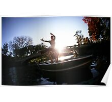 Acroyoga in the lake, Central Park, New York Poster