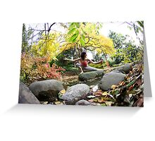 Yoga by the river Greeting Card