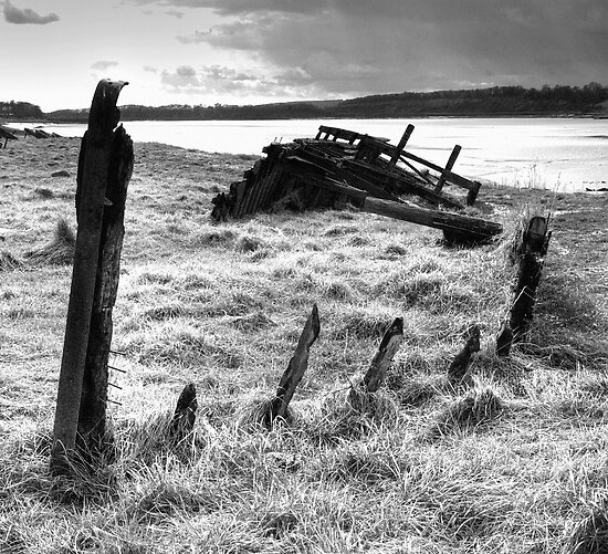 "Wreck of the ""Severn Collier"" at Purton, Gloucestershire. by Robert Down"