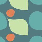 Terra Cotta Orange and Teal Retro Polka Dot Shape Pattern by rozine