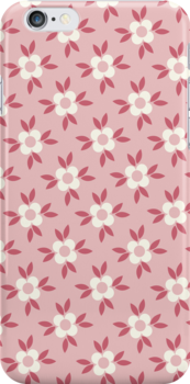 Hot Pink and White Retro Wallpaper Flower Pattern by rozine