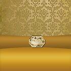 Vintage Damask Pattern in Gold with Ribbon and Topaz Gem by ArtformDesigns