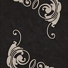 Faux Tooled Black Leather with Scrolls in Cream by ArtformDesigns