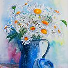 Daisies in a Blue Jug by Denise Hammond-Webb
