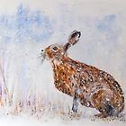 Hare (Jack Rabbit)  in a Snow Shower by Denise Hammond-Webb