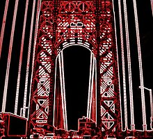 The George Washington Bridge In Neon by shivonnejean