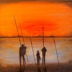 Sunset Bay Fishing by Richard Darcy