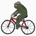 Gentleman Frog on a Bicycle by Sarah Countiss